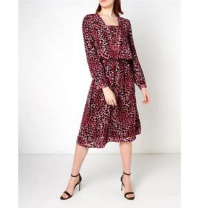 Biba Animal Print Dress NWT Pink Black Midi Length Long Sleeve XS UK 8 RRP £99