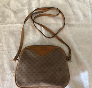 Vintage Gucci Beige & Brown Shoulder Bag Cross-body Small Purse