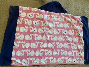 """Pottery Barn Kids Hooded Towel Pink Blue Whales 29""""x48"""" Bathroom Accossories"""