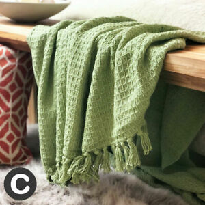 Luxury X LARGE Sofa Bed Throw Blanket 100% Cotton Pale Green waffle Check Fringe