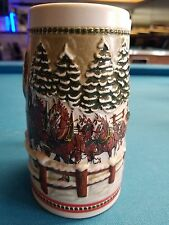 1984  Anheuser Busch  AB  Budweiser Bud Holiday Christmas Beer Stein Clydesdales