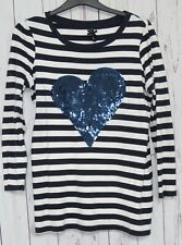 NEXT Top Navy & White Stripes Brushed Cotton Size 18 Long Sleeves Sequin Detail