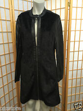 DKNY Jeans Black Mohair Faux Leather Zipper Front Jacket Pea Coat Womens Size L