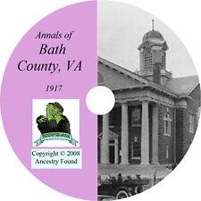 1917 BATH County Virginia VA - History & Genealogy - Warm Springs - CD DVD