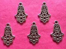 Tibetan Silver Hamza Hand Charm - Protection/Luck - 5 per pack