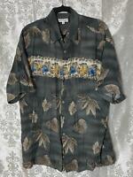 Pierre Cardin Men L Hawaiian Shirt Blue Floral Short Sleeve Button Up Rayon