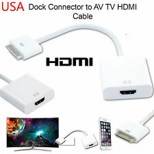 30 PIN DOCK CONNECTOR TO HDMI TV ADAPTER 1080P CABLE LEAD FOR IPHONE 4S IPAD 2 3
