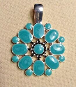 Premier Designs Jewelry Flipside Pendant Reversible Turquoise & Red