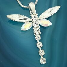 "Dragonfly Made With Swarovski Crystal AB Wings Beautiful 18"" Chain Necklace"