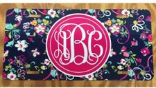 Monogram License Plate Blue Floral Personalized Car Tag New