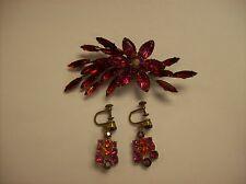Vintage Brooch Pin Earrings Set Red Pink Rhinestone Flower Jewelry