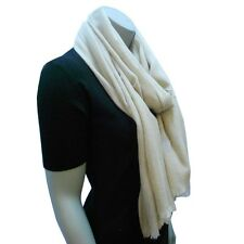 "NEW $665 Cruciani Scarf Solid Beige Pure Cashmere 27"" x 79"" inches Made in Italy"
