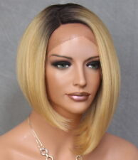 Women Full Lace Front Wig Straight Blonde Dark Roots Hair Piece VGA 1074 NWT