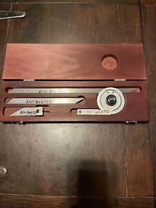 Starrett No. C359 Precision Machinist Protractor, Blades,  Wooden Case