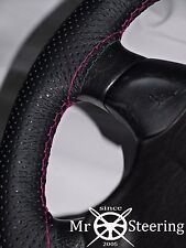 FOR 99+ SKODA FABIA I PERFORATED LEATHER STEERING WHEEL COVER HOT PINK DOUBLE ST