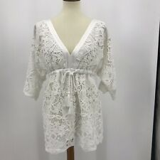 Boston Proper Lace Mini Dress Size Small Cover-Up Waist Tie White