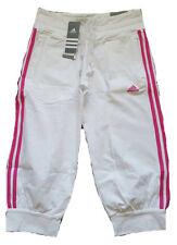 Adidas ESS 3s 3/4 Pantalones para mujer Capri Pantalones Tamaño UK 12 Nuevo Blanco/Rosa