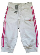 Adidas Ess Pantalones Capri Pantalones 3s 3/4 para mujer Talla UK 12 Nuevo Blanco/Rosa