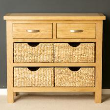 London Oak Console Table with Baskets / Hallway Storage / Light Oak Sideboard