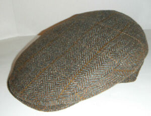 CHRISTYS of LONDON italian Wool HERRINGBONE brown driving Cap Hat XL