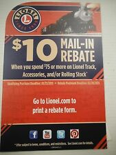 2014 Lionel Train $10 Mail In Rebate off $75 purchase Purchased by 01/31 1229SM