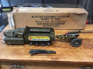 Rare Buddy L 409 Half Track mobile Artillery unit with cannon and Box. 1940s 50s