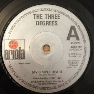 """7"""" THE THREE DEGREES MY SIMPLE HEART 1979."""