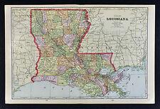1909 George Cram Map - Louisiana - New Orleans Baton Rouge Alexandria Shreveport