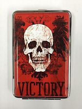 Stainless Steel Id Cigarette Credit Card Case Victory Red (New)