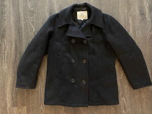 Vintage US Navy Wool Pea Coat Men's Sz Medium Black Standard Issue Sailor Coat