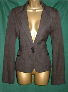 New Tailored Stitch Detail Uk 14 Brown Fitted Blazer Office Jacket Work Coat F&F