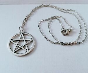 Pentagram pendant silver coloured necklace 18 inch chain, gothic pagan