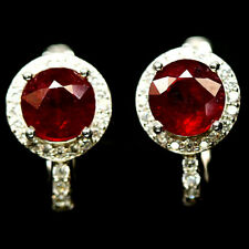 NATURAL RED RUBY & WHITE CZ EARRINGS 925 STERLING SILVER
