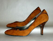 Women's Naturalizer Brown Suede Leather Snakeskin Pattern High Heels Shoes 8M