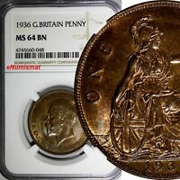 GREAT BRITAIN George V Bronze 1936 1 Penny NGC MS64 BN NICE TONING KM# 838