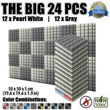 New 24 pcs Set Pearl White and Gray 50*50*5cm Hemisphere Grid Acoustic Foam