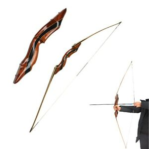 "62"" Longbow Recurve Bow Takedown 25-55lbs Traditional Bow Archery Hunting Sports"