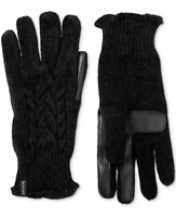Isotoner Womens One Size Touchscreen Chenille Cable Knit Gloves Black 625