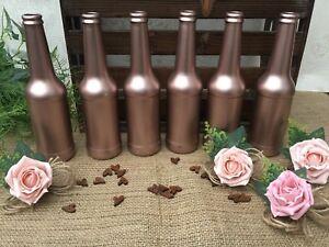 WEDDING GLASS JARS/BOTTLES TABLE CENTREPIECE ROSE GOLD RUSTIC HESSIAN VINTAGE X5