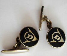 Dunlop enamel cufflinks logo Initial D vintage 1960s sports company advertising