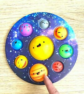 Pop Popper Fidget Toy Push It Poppet Bubble Stress Anxiety Relief Galaxy Planet#