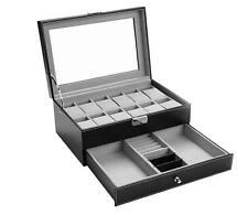 Black Watch Box Organizer 12 Mens Jewelry Display Drawer Tray Glass PU Leather