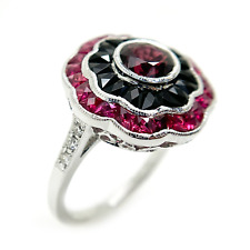 18K White Gold, Diamond, Ruby, and Onyx ring
