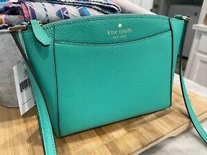 KATE SPADE MONICA Cilantro Green Pebbled Leather Crossbody Bag $279 Rare Color