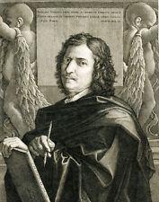 POUSSIN SELF PORTRAIT - ORIGINAL ANTIQUE ENGRAVING BY JEAN PESNE (1623-1700)