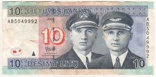 Lithuania Litauen 10 Litu 2007 Famous Pilots Airplane Banknotes Circulated UNC