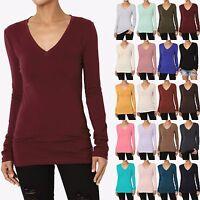 TheMogan S~3X Basic Solid Plain Solid V-Neck Long Sleeve T-Shirt Cotton Span Tee