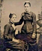 Massachusetts Tintype c.1860 Pretty Young Women Sisters Sixth Plate Photo