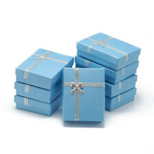 12x Cardboard Pendant Necklaces Boxes Jewelry Gift Case Box w/ Bowknot Sky Blue