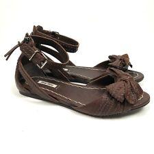 Miu Miu Prada Sandals Brown Bow Size 37.5 US 7.5 Leather Brown Ankle Strap